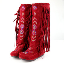 Women's boots ethnic style retro fringed women's autumn and winter boots flat bottom increased high boots