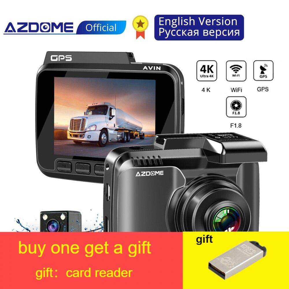 Original AZDOME GS63H 4K Traço Cam Câmera GPS embutido Carro WIFI Com Câmera Real Dvr WDR Visão Noturna Dashcam Dashcam 24 H Monitor de Estacionamento