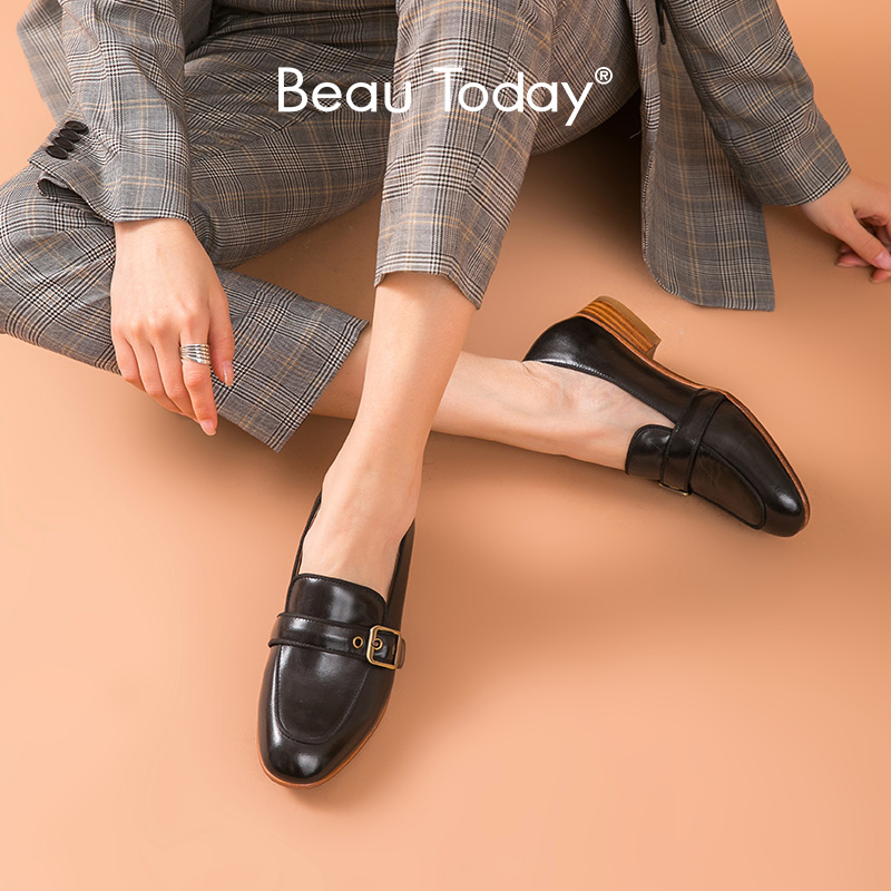 BeauToday Loafers Women Calfskin Metal Buckle Round Toe Slip On Flats Genuine Leather Ladies Dress Casual Shoes Handmade 27217