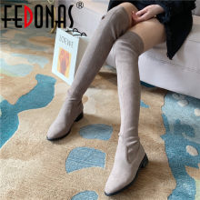 FEDONAS Concise Female Big Size Riding Boots Sexy Flock Socks Boots Night Club Shoes Woman Brand Women Over The Knee High Boots(China)