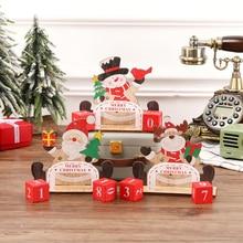 Деревянный Санта-Клаус со снеговиками, с северными оленями, узор с окрашенными блоками, Праздничный Орнамент для украшения дома, Рождественский календарь обратного отсчета