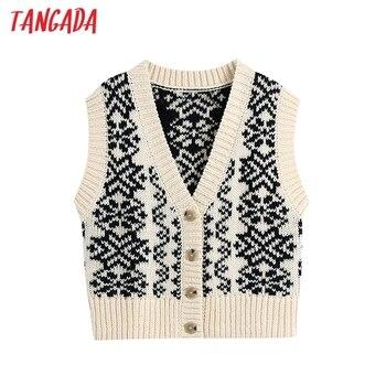 Tangada-suéter tejido tipo Chaleco con flores de nieve para mujer, moda 2021, cuello en V, sin mangas, Tops Chic BE325