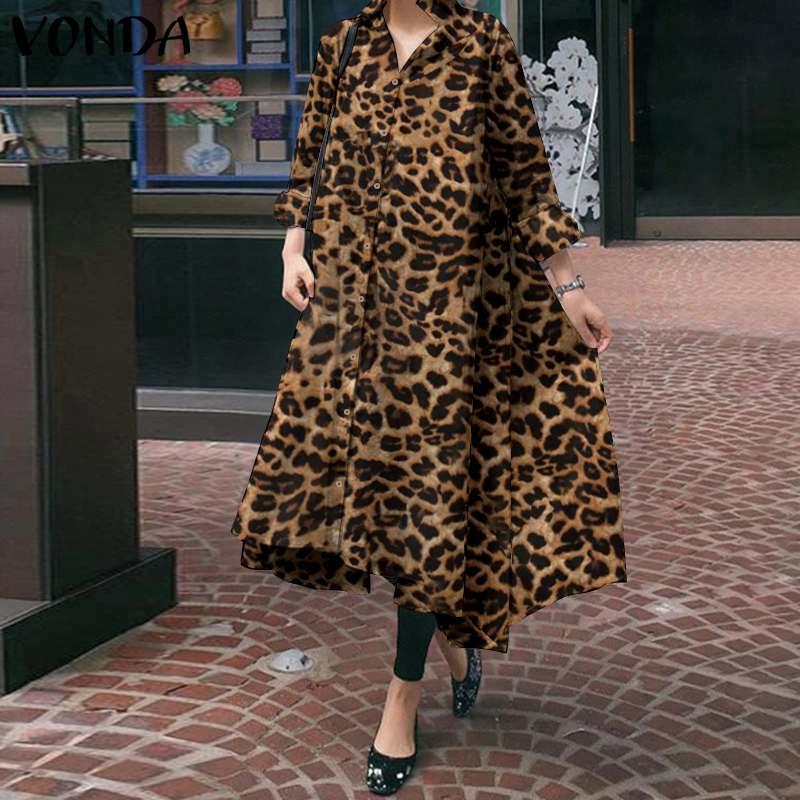 Party Sommerkleid 2020 VONDA Retro Leopard Gedruckt Hemd Kleider Vintage Maxi Kleid Herbst Langarm Taste Revers Kleid Vestidos