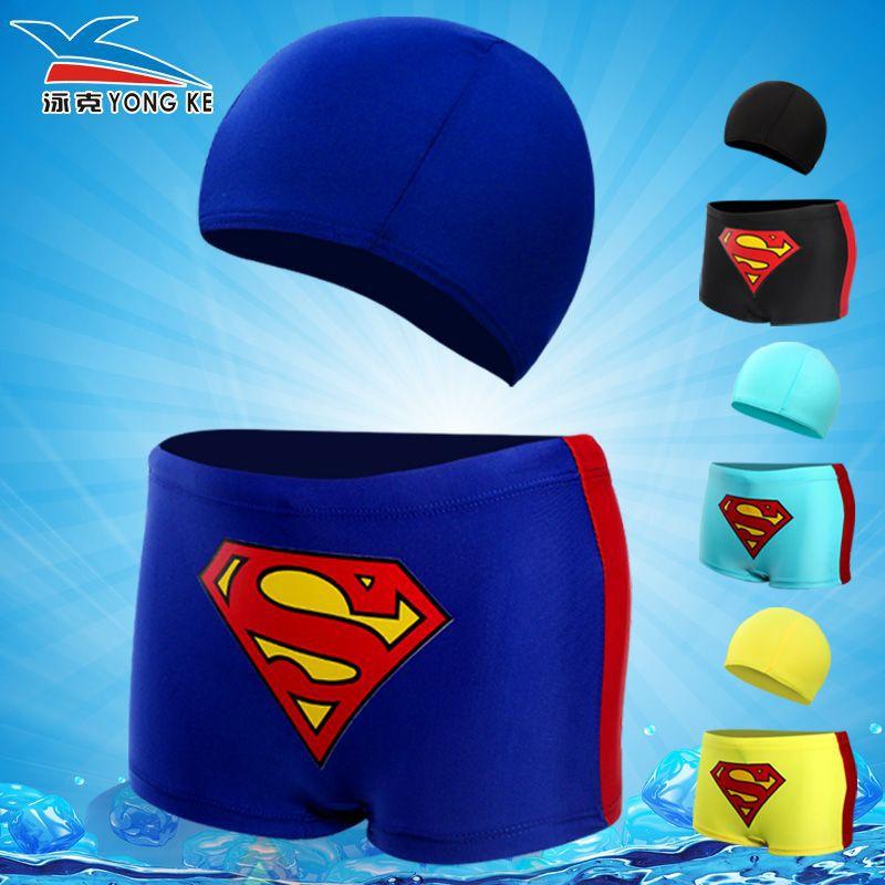 2018 Boxer Cartoon Swimming Trunks Swimming Cap Baby Superman Boxers Infants Boy Large Size Children Swimsuit Set