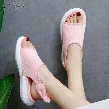 Mhysa 2020 Sandalias planas con lazo de verano para mujer, nueva moda femenina con cordones y Punta abierta, Zapatos Sandalias informales para mujer