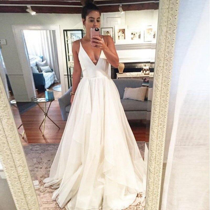 Col en V une ligne robes De bal sans manches robe De soirée blanc dos nu robe De bal formelle