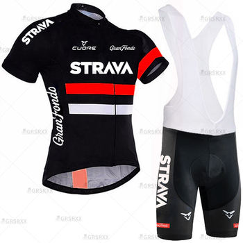 STRAVA Cycling Jersey Men Set Bib Shorts Set Summer Mountain Bike Bicycle Suit Anti-UV Bicycle Team Racing Uniform Clothes 12