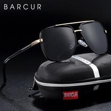 BARCUR สแควร์แว่นตากันแดดผู้ชาย Polarized แบรนด์ Driving Sun แว่นตาชาย oculos de Sol