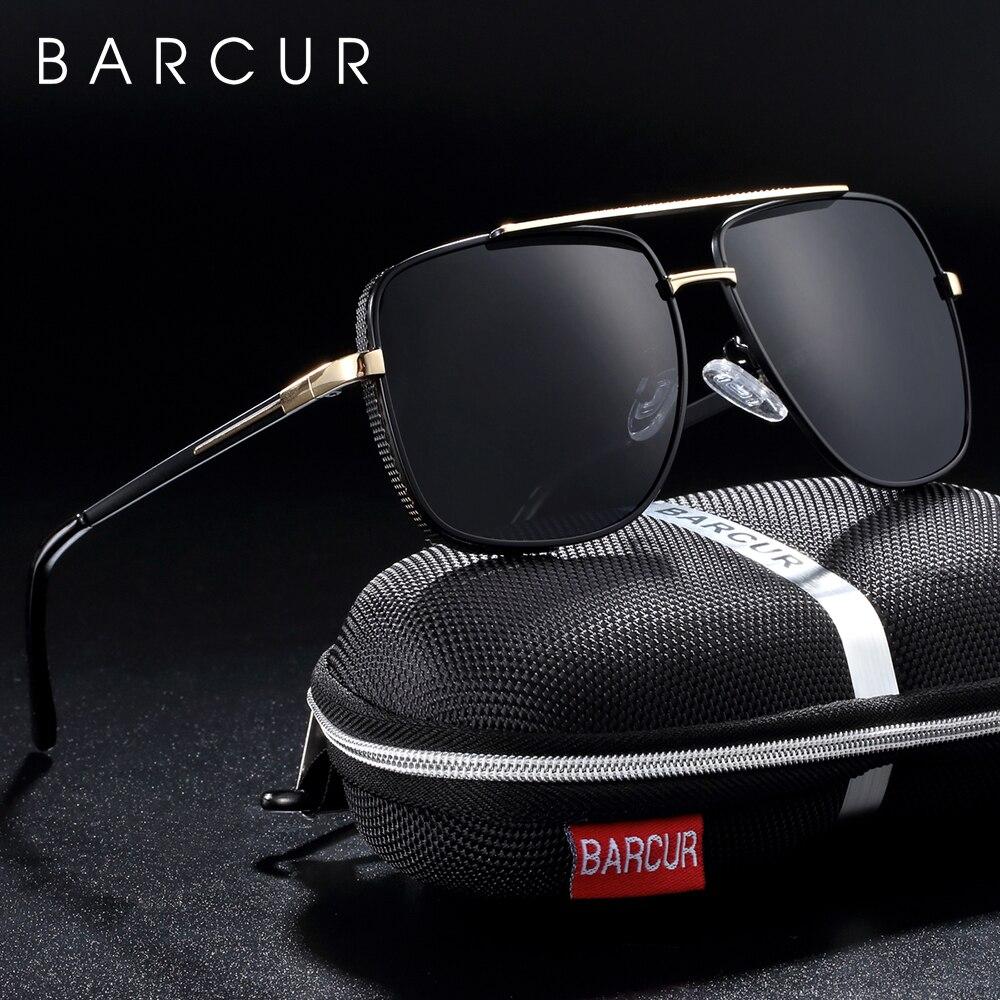 BARCUR lunettes de soleil carrées polarisées  Lunettes de soleil de conduite pour hommes, oculos de solLunettes de soleil homme   -