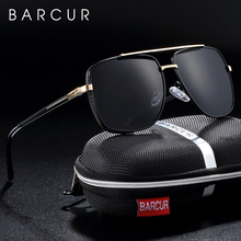 BARCUR مربع الاستقطاب الرجال النظارات الشمسية العلامة التجارية القيادة نظارات شمسية للرجال oculos دي سول