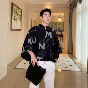 Men Summer Stand Collar Letter Print Loose Casual Black Pullover Shirt Oversize Male Streetwear Vintage Short Sleeve Shirt