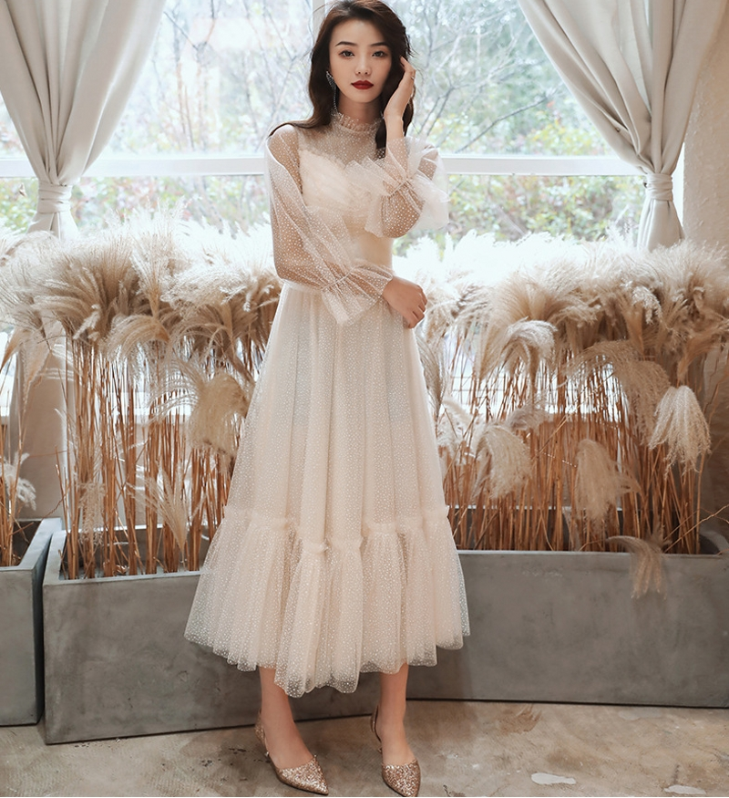 New Elegant Muslim Tea Length Evening Dress 2020 High Neck Ruffles Lace Prom Formal Gowns Abendkleider Vestido De Fiesta