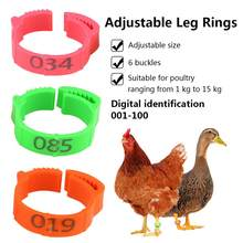 100PCS Chicken Leg Ring Adjustable Size Poultry Leg Buckle Digital Label For Chicken Duck Pigeon Poultry Farming Distinction(China)