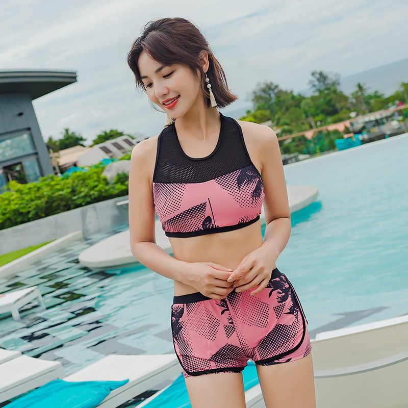 Baju Renang Wanita Baju Renang Pakaian Renang Musim Panas 2019 Ruam Penjaga Perempuan Korea Split Tiga Potong Olahraga Lengan Panjang Bunga Polyester