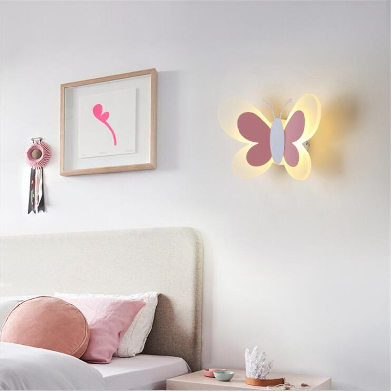 Modern Pink/Blue Butterfly Wall Lamp for Kid's Room Kindergarten Acrylic Iron Fashion Lovely Animal Porch Light 2582