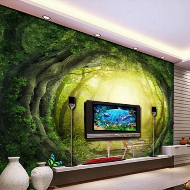 Drop Verzending Custom Muurschildering 3d Stereo Sika Herten Fog Bos Muurschildering Woonkamer Tv Achtergrond Muur Restaurant Hotel Behang Behang Aliexpress