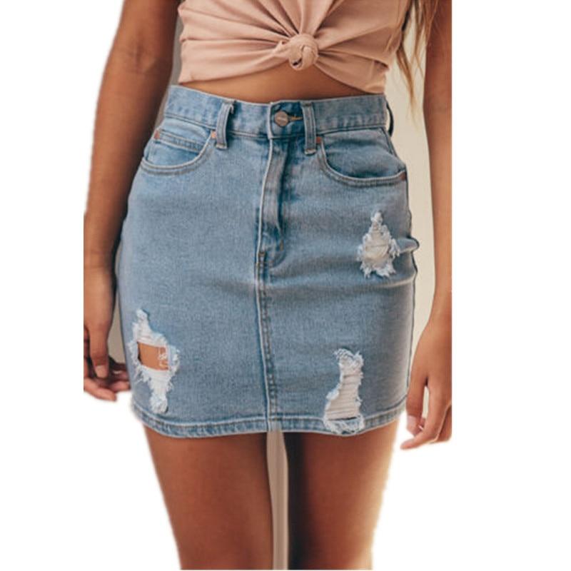 Hot Sale Summer Sexy Bodycon Pencil Ripped Mini Ladies Skirt Fashion Denim High Waisted Women Skirts Plus Size