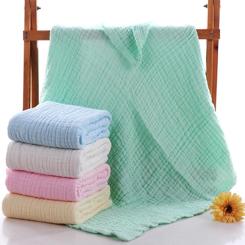 6 Layers Soft 100% Cotton Muslin Newborn Baby Thicken Seersucker Blankets Bath Gauze Towl Infant Swaddles Wrap Stroller Cover