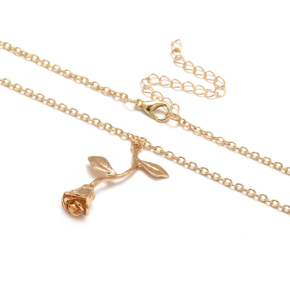 1 Pcs Delicate Rose Flower Pendant Necklace Charm Gold Beauty Rose Jewelry Necklace For Women Girls