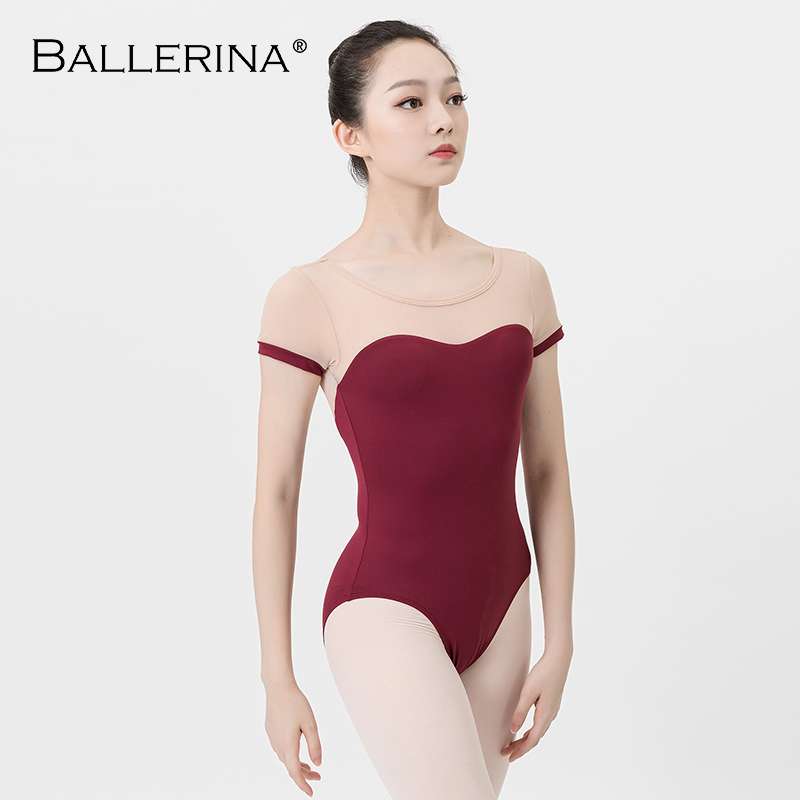 ballet leotard sexy dancewear Professional training gymnastics Open back half sleeve leotard for Women Ballerina 5744
