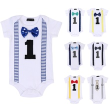 Cake Smash 1st Birthday Outfit for Boy Letter Print Romper Bodysuit Girl Baby Clothes Photo Shoot
