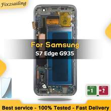 Super Amoled Lcd สำหรับ Samsung Galaxy S7 Edge SM-G935F G935FD หน้าจอ Lcd Digitizer Assembly Replacement Parts + กรอบกรอบ(China)
