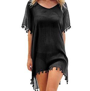 Dress Swimwear Pareo-Cover Bathing-Suits Beach-Wear Women Summer Tassels Chiffon Loose