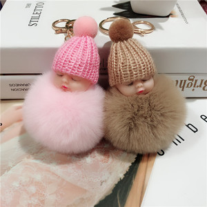 Fashion Sleeping Doll Fur Ball Key Chain Cute Plush Fake Fur Doll Keychain Ladies Charm Car Key Ring Party Gift Jewelry 3035