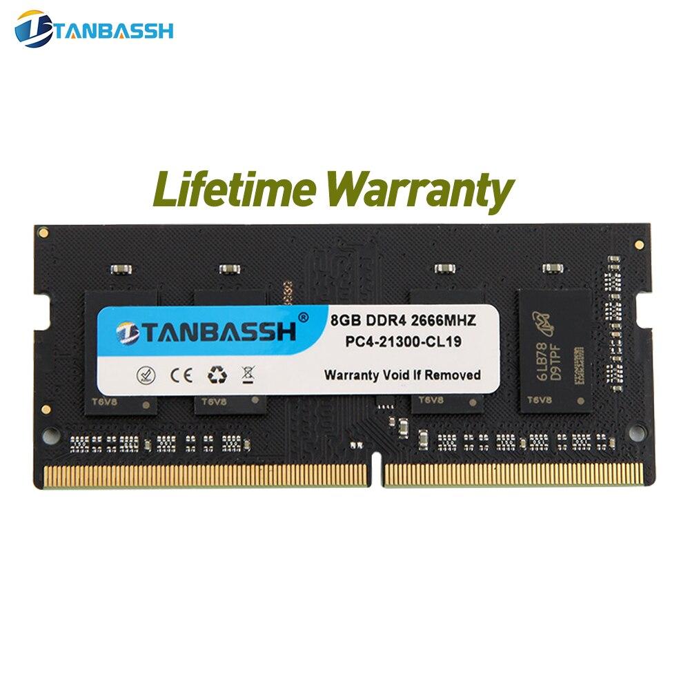 Memória ddr4 2400 v ddr3 2133 v/2666 v do portátil do elevado desempenho do caderno de sodimm de tanbassh ram ddr4 8gb 4gb 16gb 1.2 1.5 1.35 mhz