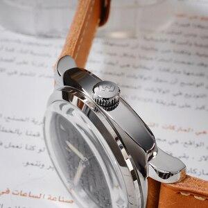 Image 4 - San Martin Uhr Vintage Edelstahl Automatische Männer Uhren Wasserdicht 200m Lederband Licht wasserdicht Mineral Blase