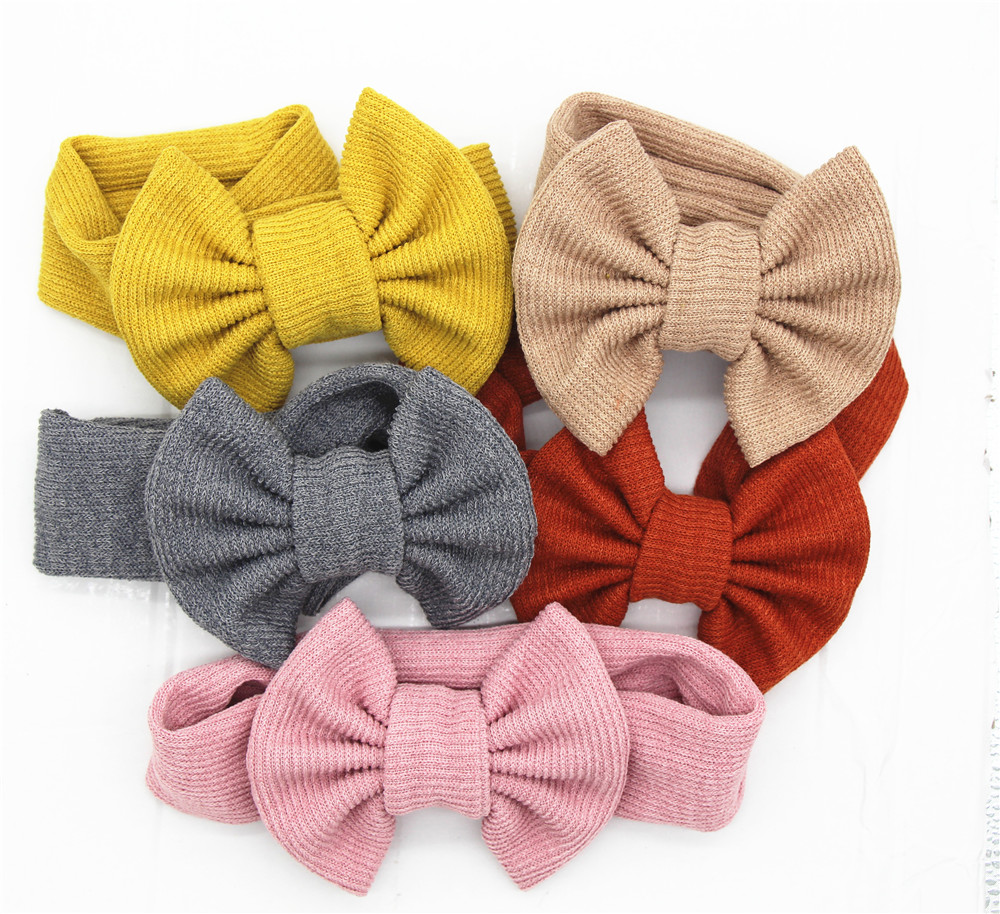 Girls Baby Toddler Turban Solid Headband Hair Band Bow Accessories Headwear 2019