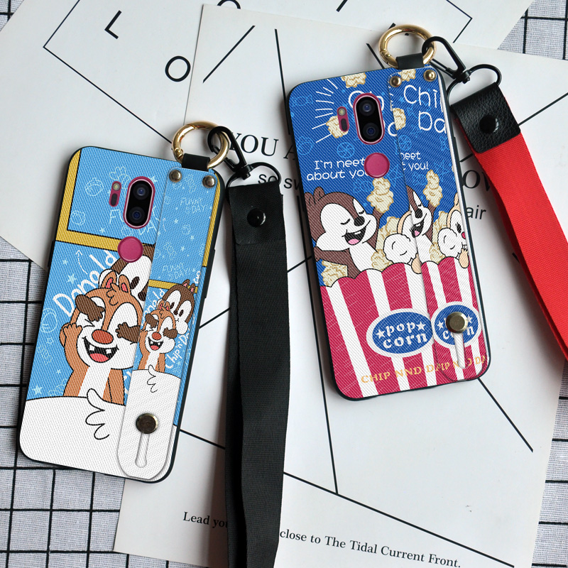 Luxury Lanyard Phone <font><b>Cases</b></font> For <font><b>LG</b></font> Magna <font><b>G4C</b></font> G4 G5 G6 G7 ThinQ Ring Holder Cute Rabbit Back Cover For <font><b>LG</b></font> V20 V30 V50 image