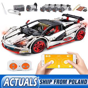 Image 1 - DHL 20087 APP Technic Car Series Compatible MOC 16915 White Icarus Car Set Kids Building Blocks Bricks RC Car