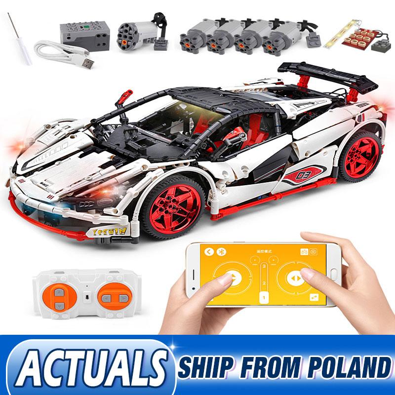 DHL 20087 APP Technic Car Series Compatible lepining MOC 16915 White Icarus Car Set Kids Building Blocks Bricks RC CarBlocks   -