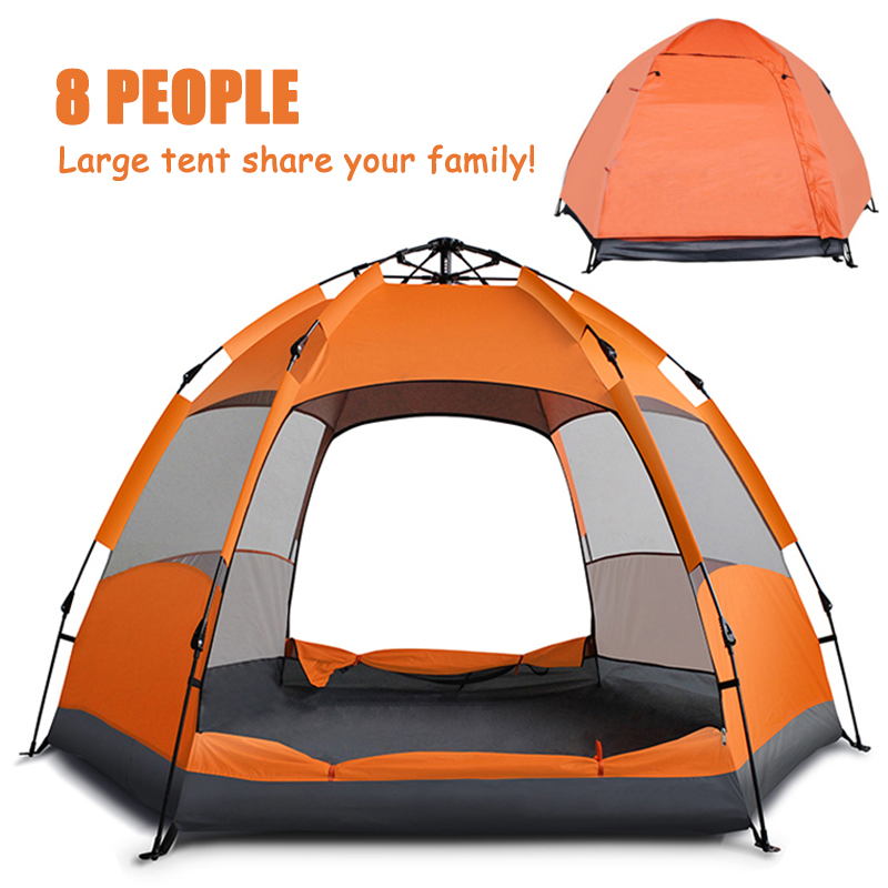MYJ 5-8 People Large Tent Quick Setup Family Tent Outdoor Camping tent foldable folding tents two layer backpack tents sunshade image