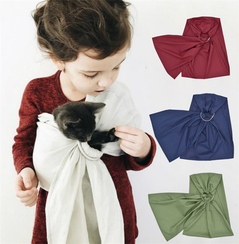 Cotton Fabric Kids Children Toy Carrier Dolls Animals Ring Sling Toddler House Play Pets Doll Carrier Solid Color
