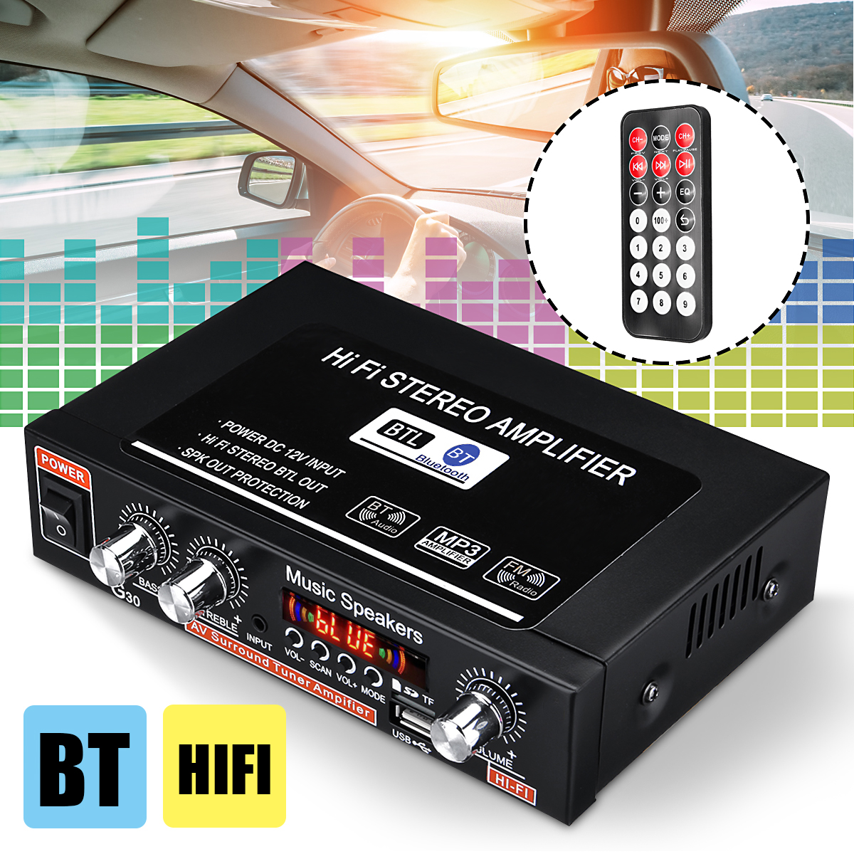 200W 12V Car Amplifier HIFI Audio Stereo 2CH bluetooth FM USB TF AUX Subwoofer !