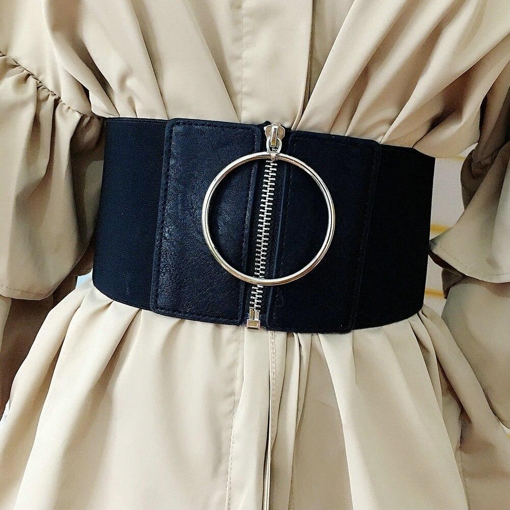 Corset Belt Waist Black Leather Belts For Women Wide Cummerbund Fashion Designer Elastic Big Dress Belt Plus Size Cinturon Mujer