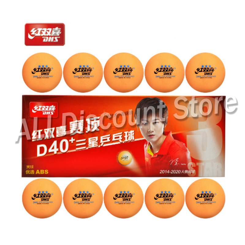 Original Dhs New 3-star D40+ Table Tennis Balls 3 Star Seamed Abs Balls Plastic Orange Poly Ping Pong Balls