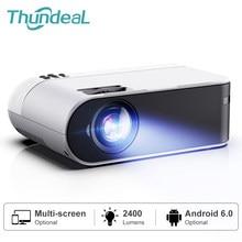Thundeal mini projetor td60 suporte completo hd 1080p vídeo led wifi android beamer link telefone 3d projetor de cinema em casa portátil
