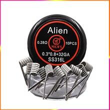 10 шт. Alien clapton ss316L NI80 A1 готовые катушки для электронных сигарет RBA RDA RTA vape Танк для vape инопланетянин нагревательный провод
