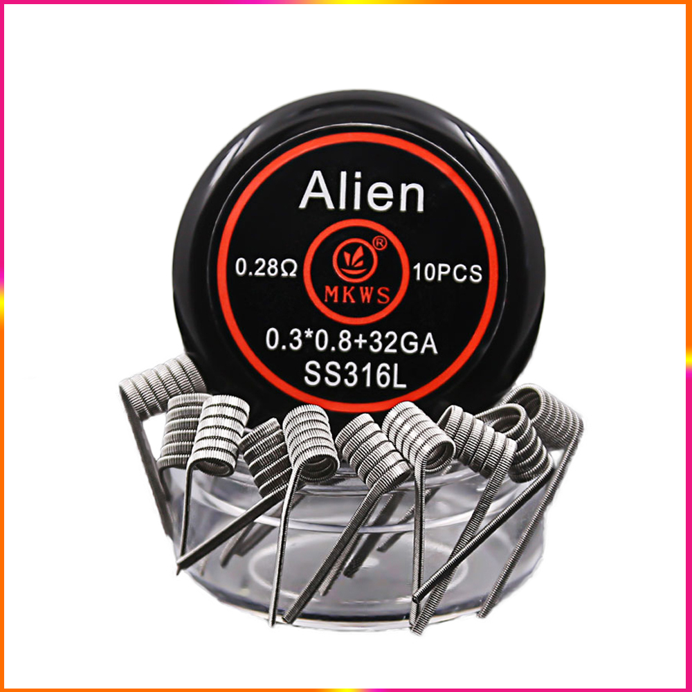 10PCS Alien clapton ss316L NI80 A1 prebuilt coils for electronic cigarettes RBA RDA RTA vape tank to vape Alien heating wire