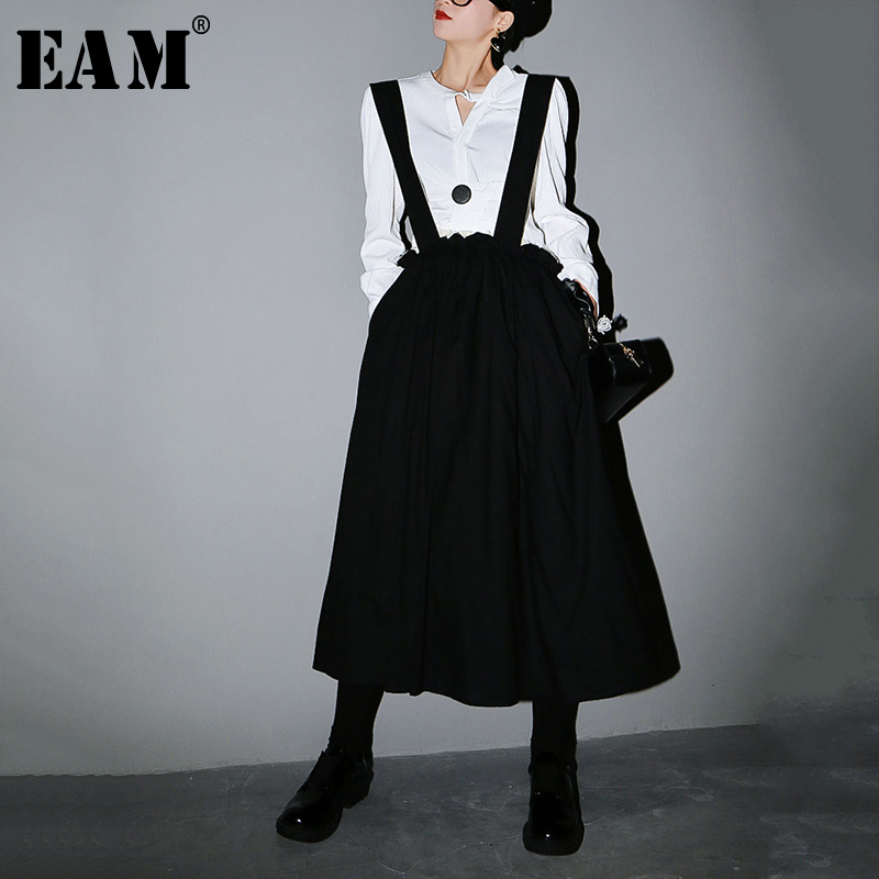[EAM] High Elastic Waist Black Double Layers Pleated Strapless Half-body Skirt Women Fashion Tide New Spring Autumn 2020 1S621