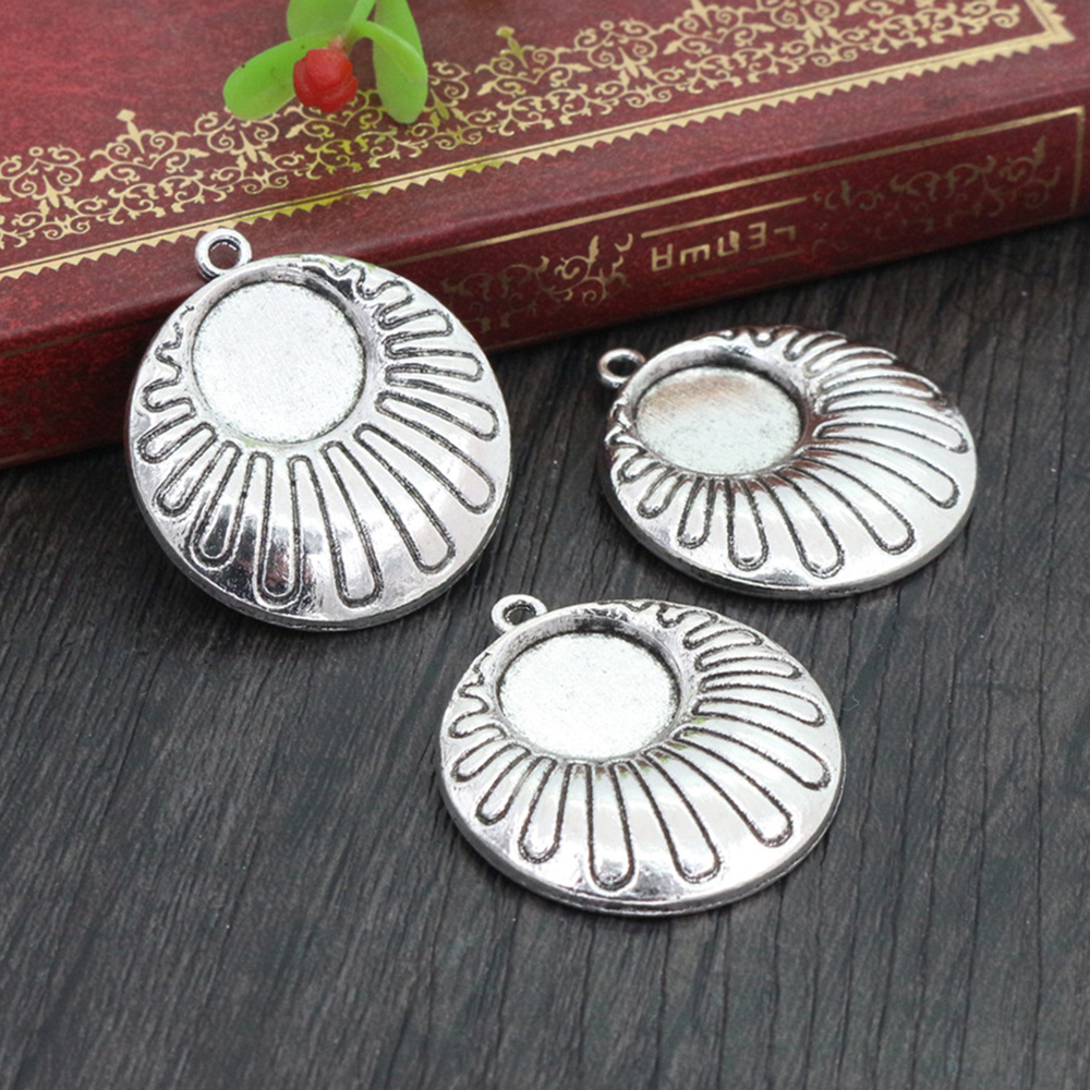 8pcs 12mm Inner Size Antique Silver Plated Fashion Style Cabochon Base Cameo Setting Charms Pendant (A2-12)
