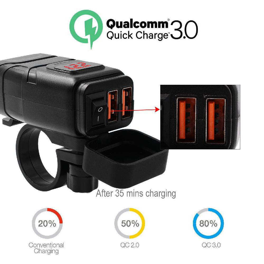 Motorcycle Double USB Super Fast Charging+Voltmeter Waterproof QC 3.0 Quick Charge 12V Voltmeter Handlebar Mounting Bracket