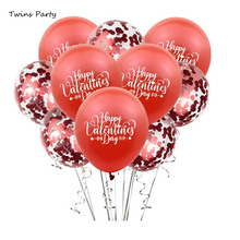 Twins 12inch Happy Valentines Day Latex Balloons Wedding Decoration Pink Confetti Balloon Anniversary Birthday Party Supplies 12inch transparent confetti balloons happy birthday ballon event party supplies colors latex clear balloon wedding decoration