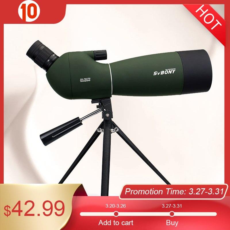 Водонепроницаемый зум-телескоп SVBONY SV28 50/60/70 мм, 3 типа, телескоп с функцией увеличения + штатив, мягкий чехол для наблюдения за птицами, стрель...
