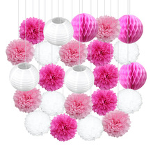 24pcs/set Chinese Lanterns Paper pompon Honeycomb 15/20/25/30cm for Wedding Event Party Decoration
