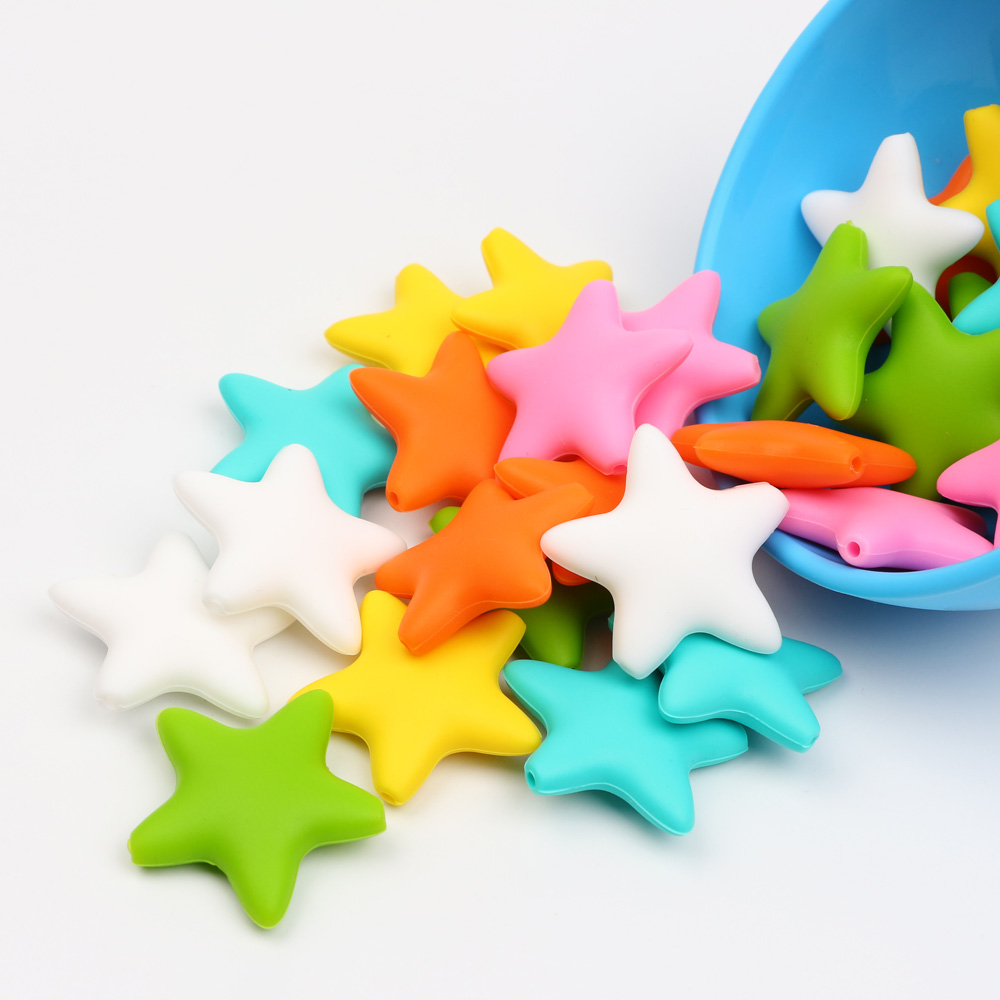 50 Pcs Food Grade Stars Silicone Beads BPA Free DIY Baby Teething Necklace Pendant Making Pacifier Chain Accessories Toys