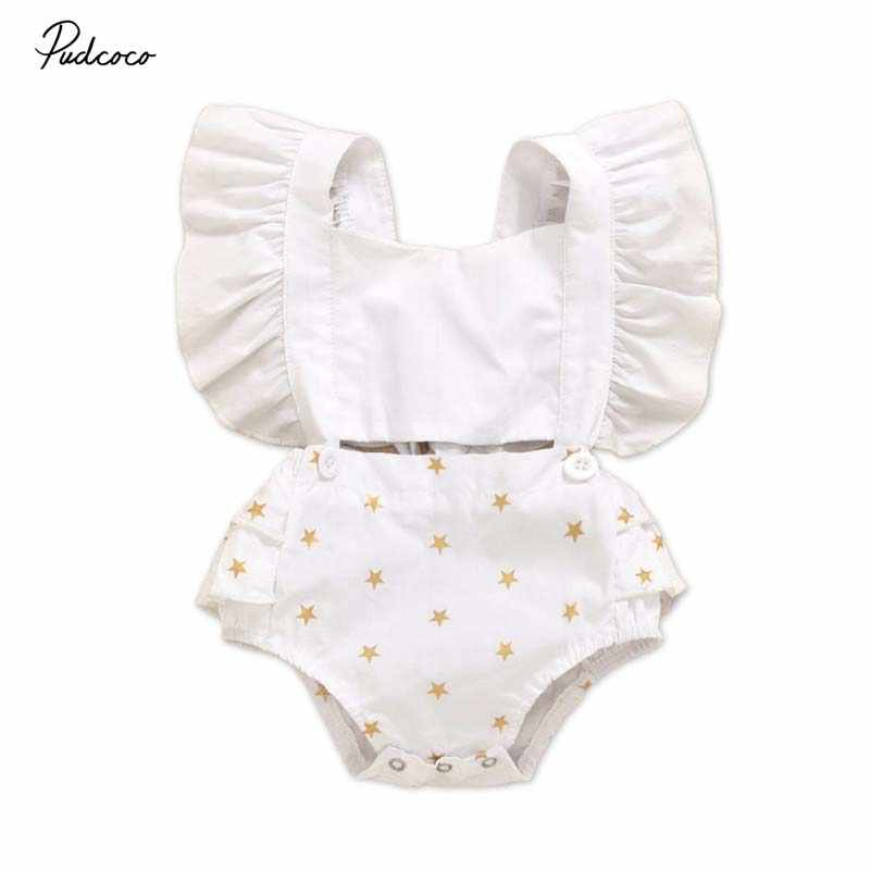2020 Baby Summer Clothing Newborn Baby Girls Stars Print Clothes Jumpsuit Bodysuit Playsuit Outfits Backless Sunsuit